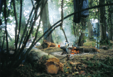 A camp fire in the woods
